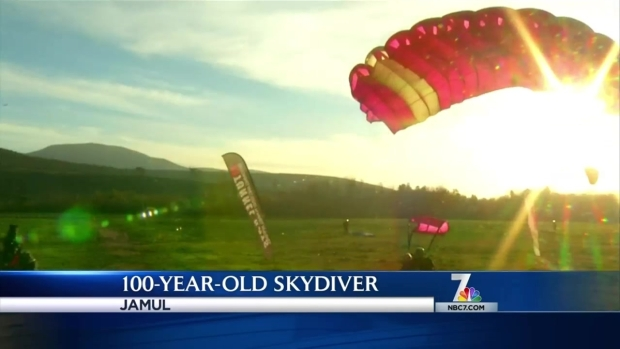 Man Skydives for 100th Birthday