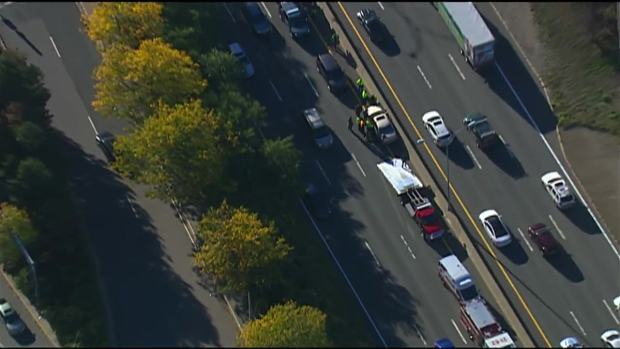 [NECN] AERIAL FOOTAGE: Wrong-Way Driver Crashes on Pike