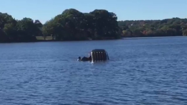 [NECN]  RAW VIDEO: Driver Rescued from Car That Went into Pond