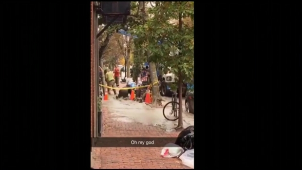 Man Crawls Out of Flooded Hole in Boston