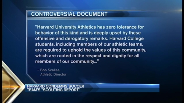 [NECN] Harvard Condemns Soccer Team 'Scouting Report'