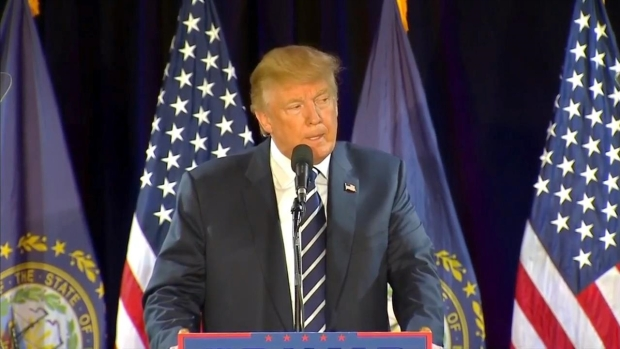 Trump Addresses Clinton Email Investigation During NH Stop