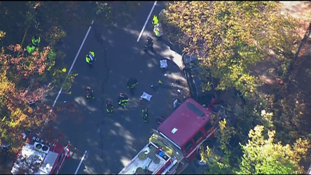 [NECN] AERIAL FOOTAGE: Fire Engine Crash Injures 4 Firefighters, Civilian