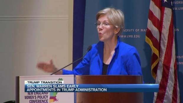 [NECN] Sen. Elizabeth Warren Criticizes Donald Trump Cabinet Picks
