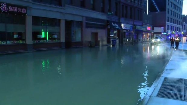 [NECN] Water Main Break Floods Boston's Theater District