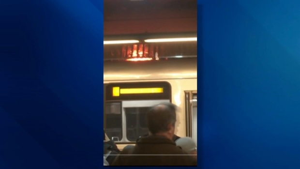 Fire Sparked on Top of Green Line Subway Train