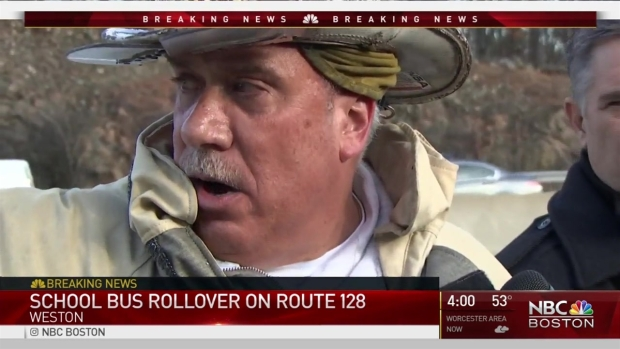 [NECN] School Bus Rolls Over on Route 128