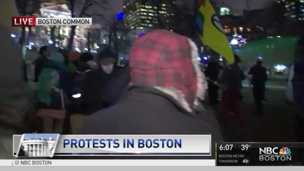 [NECN]  Protesters Rally at Boston Common