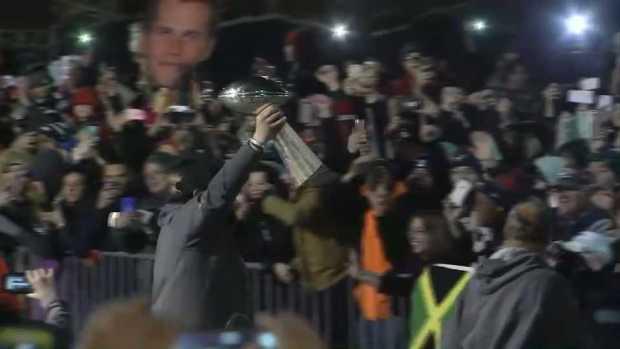 [NECN] Lombardi Trophy Arrives Home to Gillette Stadium