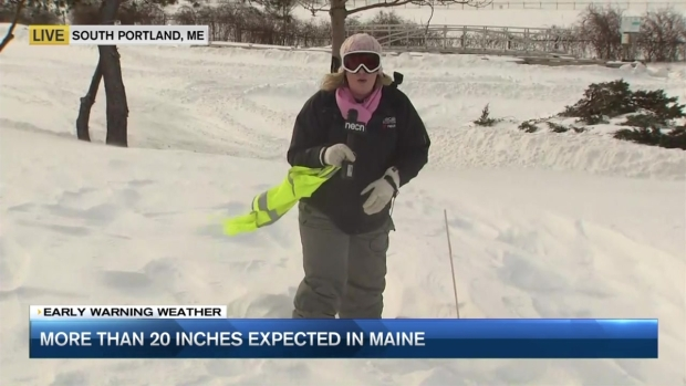 [NECN] Maine Slammed With 2 Feet of Snow in Latest Nor'easter