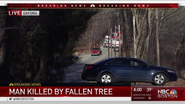 [NECN] Heavy Winds Cause Fatality, Down Utility Poles, Trees