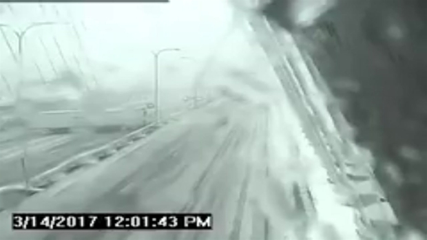 [NECN]CAUGHT ON CAM: Tractor Trailer Jackknifes on Zakim Bridge