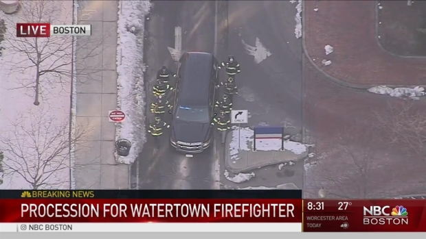 [NECN] Procession for Watertown Firefighter