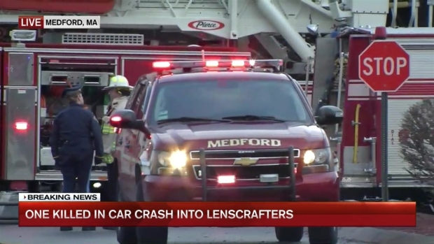 [NECN] Driver Dies After Car Crashes into Building in Medford