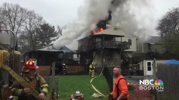 [NECN] Fire Crews Battle Fire in Millbury, Massachusetts