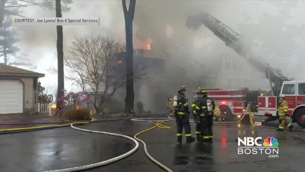 [NECN] Viewer Video: Crews Work to Put Out Fire in Princeton, Massachusetts