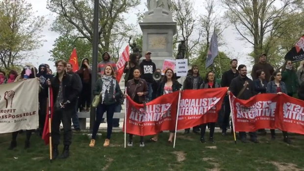 Boston Antifa Supporters Rally in the Boston Common
