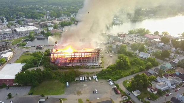 [NECN] Drone Captures 5-Alarm Blaze at Maine Mill
