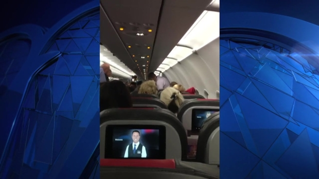 [NECN]Witness Video Shows Unruly Passenger Being Escorted Off Plane