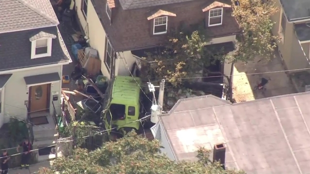 [NECN]Sky Ranger Footage of Dump Truck After Hitting Home