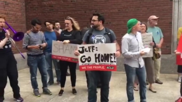 [NECN] Protestors Greet AG Sessions With 'Jeff: Go Home' Signs