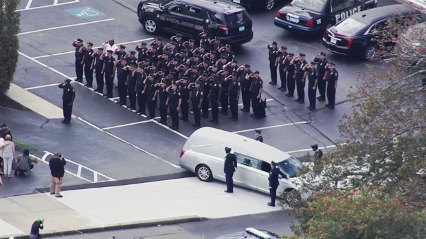 [NECN] AERIAL FOOTAGE: Procession Held for Somerville Officer