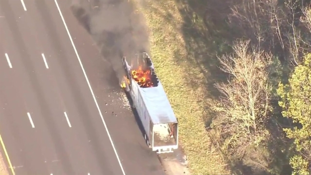 [NECN]RAW VIDEO: Sky Ranger Above Andover Tractor Trailer Fire