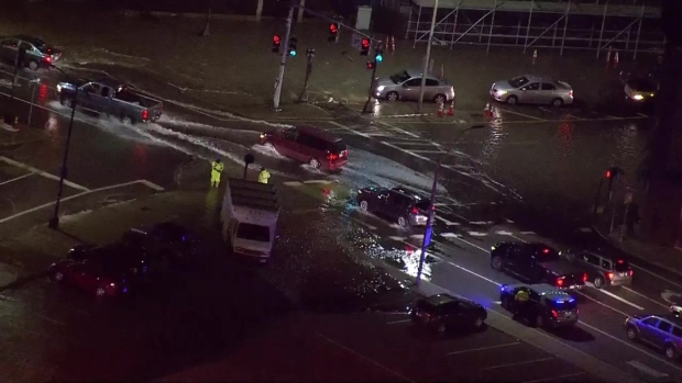 [NECN] Water Main Break Hampers Traffic in Charlestown