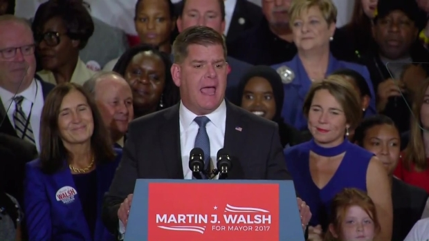 [NECN] Boston Mayor Marty Walsh Thanks Supporters After Reelection