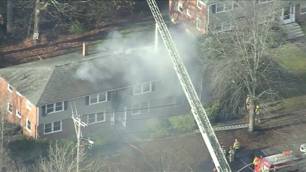 [NECN] RAW: Sky Ranger at Apartment Building Fire in Merrimac