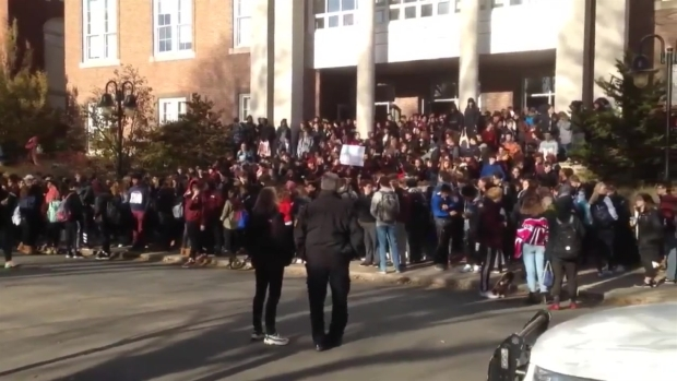 Hundreds of Brookline students walk out of school after racist video surfaces