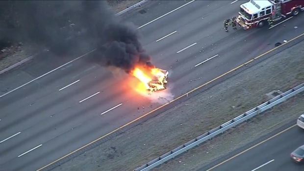 [NECN] Sky Ranger Over Car Fire on Interstate 93