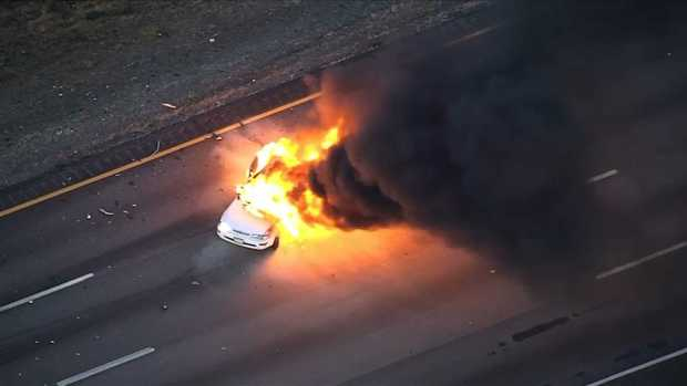 [NECN]WATCH: Explosion During Car Fire on I-93