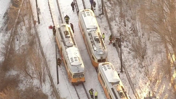 [NECN] 2 Trolleys Collide Near MBTA Station