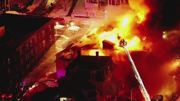 [NECN] Nighttime View of Sky Ranger Over Raging 3-Alarm Fire in Lynn, Mass.
