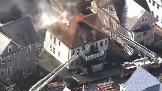 [NECN]Crews Battle House Fire in Malden, Massachusetts