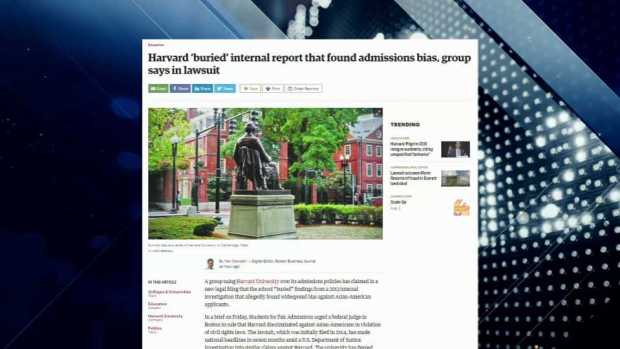 [NECN] Boston Business Journal Report: Group Accuses Harvard of Burying Admissions Bias