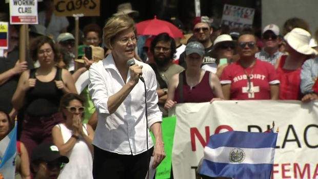 [NECN] 'This Is About Children Held in Cages': Warren Speaks at Boston Rally