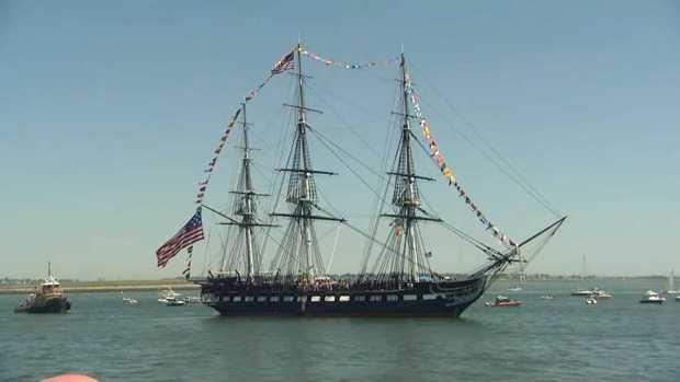 [NECN]USS Constitution Fires 21-Gun Salute Off Castle Island