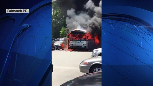 [NECN] WATCH: Bus Engulfed in Flames at Cape Cod Parking Lot
