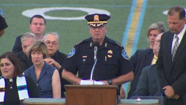 [NECN] Police Chief Posthumously Promotes Officer Chesna to Sgt.
