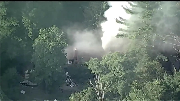 [NECN]AERIAL VIDEO: Crews Battle 3-Alarm Fire in Weston