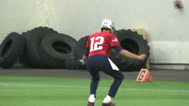 [NECN] Brady Shows Off Dance Moves at Practice