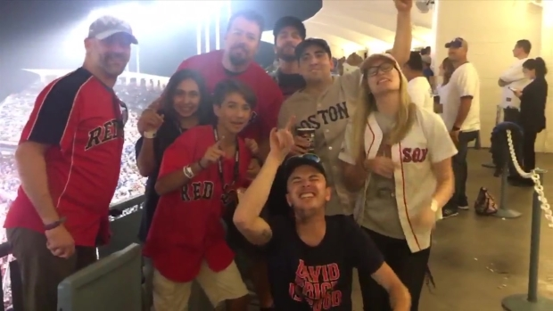 Red Sox Fans Sing 'Sweet Caroline' at Dodger Stadium
