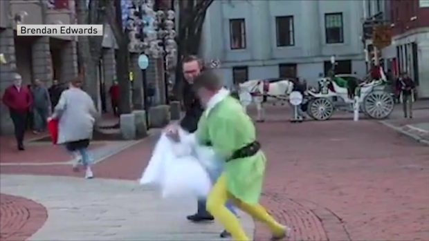 Watch: Firefighter in 'Elf' Costume Starts Pillow Fights