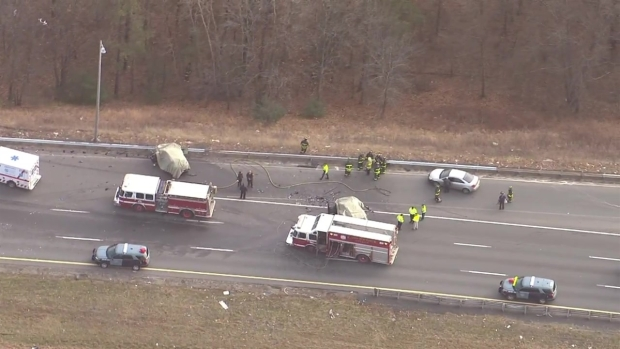 [NECN] Aerials: Wrong-Way Driver Causes Crash on I-495 in Lawrence