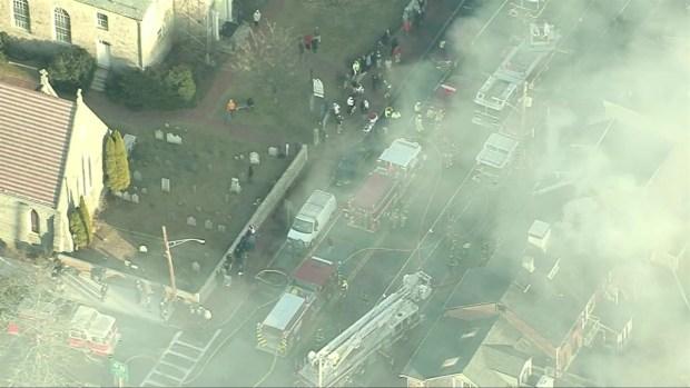 [NECN] Aerials: Crews Battle Multi-Alarm Blaze in Newburyport