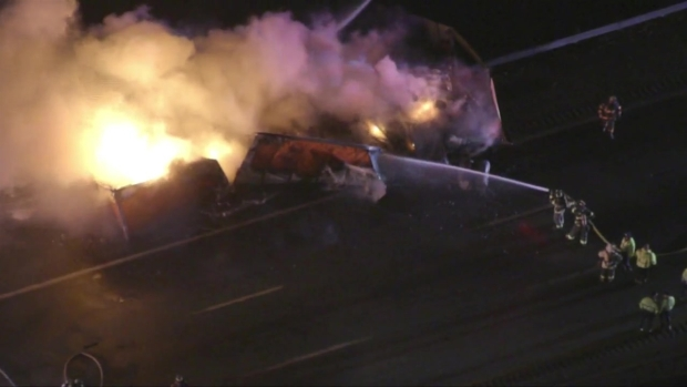 [NECN] Truck Fire on Mass. Pike