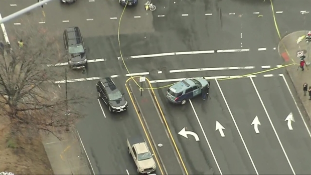[NECN]Sky Ranger Over Scene of Bicyclist vs. Cement Truck Crash in Boston's Fenway Neighborhood