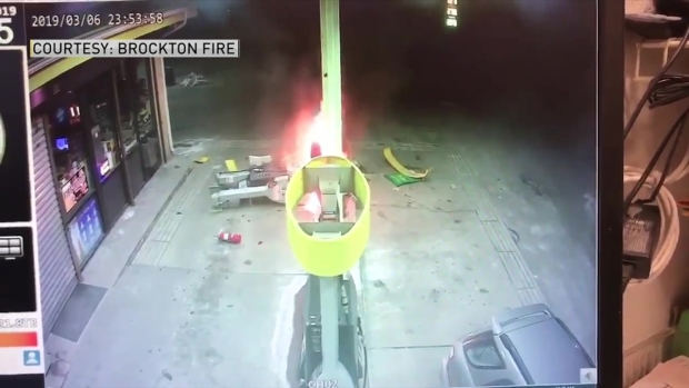 [NECN] Confused Driver Hits Gas Pump, Starts Fire